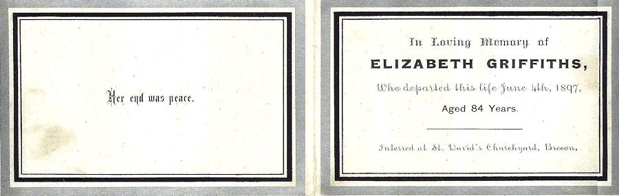 Elizabeth Griffiths Memorial Card