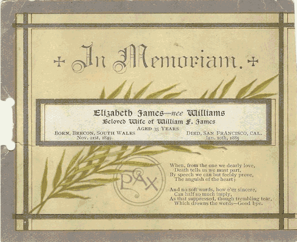 Elizabeth James Memorial Card